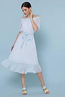 Нежное шифоновое платье миди в горошек с открытыми плечами и рюшами Устинья  к/р голубое