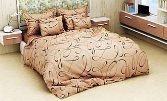 Семейный комплект 150х220 (2 шт) постельного белья из бязи голд Роспись (шоколад)