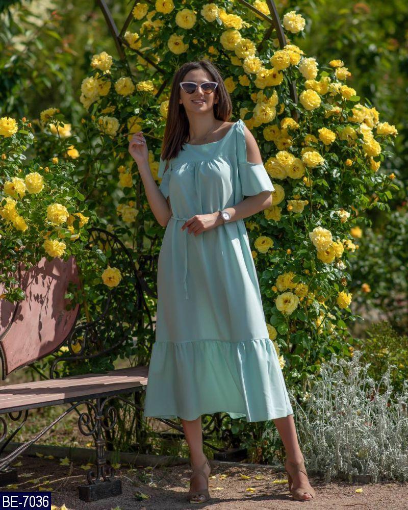 """Женское нежное однотонное летнее миди платье """"гипноз"""" с коротким рукавом (софт) 2 цвета (батал)"""