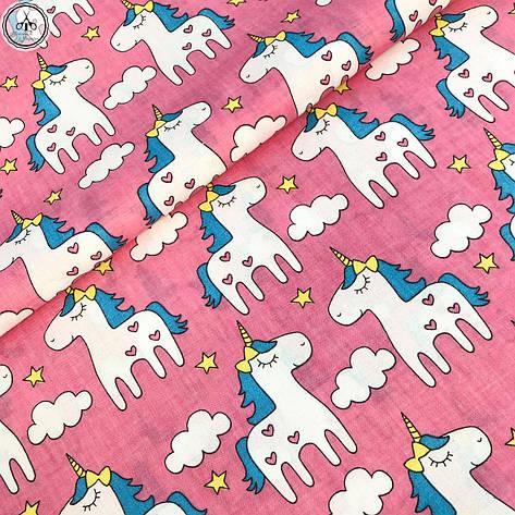 """Ткань хлопковая, муслин однослойный """"единороги на розовом"""", фото 2"""