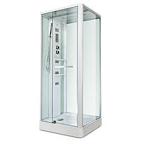 Гидробокс Miracle, 100 х 80 см, профиль белый, стекло прозрачное, задняя стенка и крыша белые, фото 1