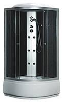 Гидробокс Fabio c электроникой, 100 х 100 см, профиль сатин, стекло серое, заднее стекло черное