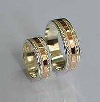 Обручальные кольца из серебра с золотой вставкой (Обр2223)