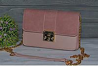 Красивая женская сумка с ручкой цепочкой пудровая, фото 1