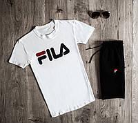 Футболка + Шорты + Скидка! Комплект мужской летний в стиле Fila Black-White, фото 1