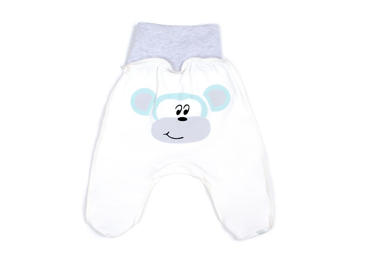 Ползунки для новорожденных Верес Crazy Zoo mint monkey интерлок 56 молочный