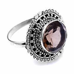 Серебряное кольцо с раухтопазом дымчатым кварцем, Ø12 мм., 1802КЦР