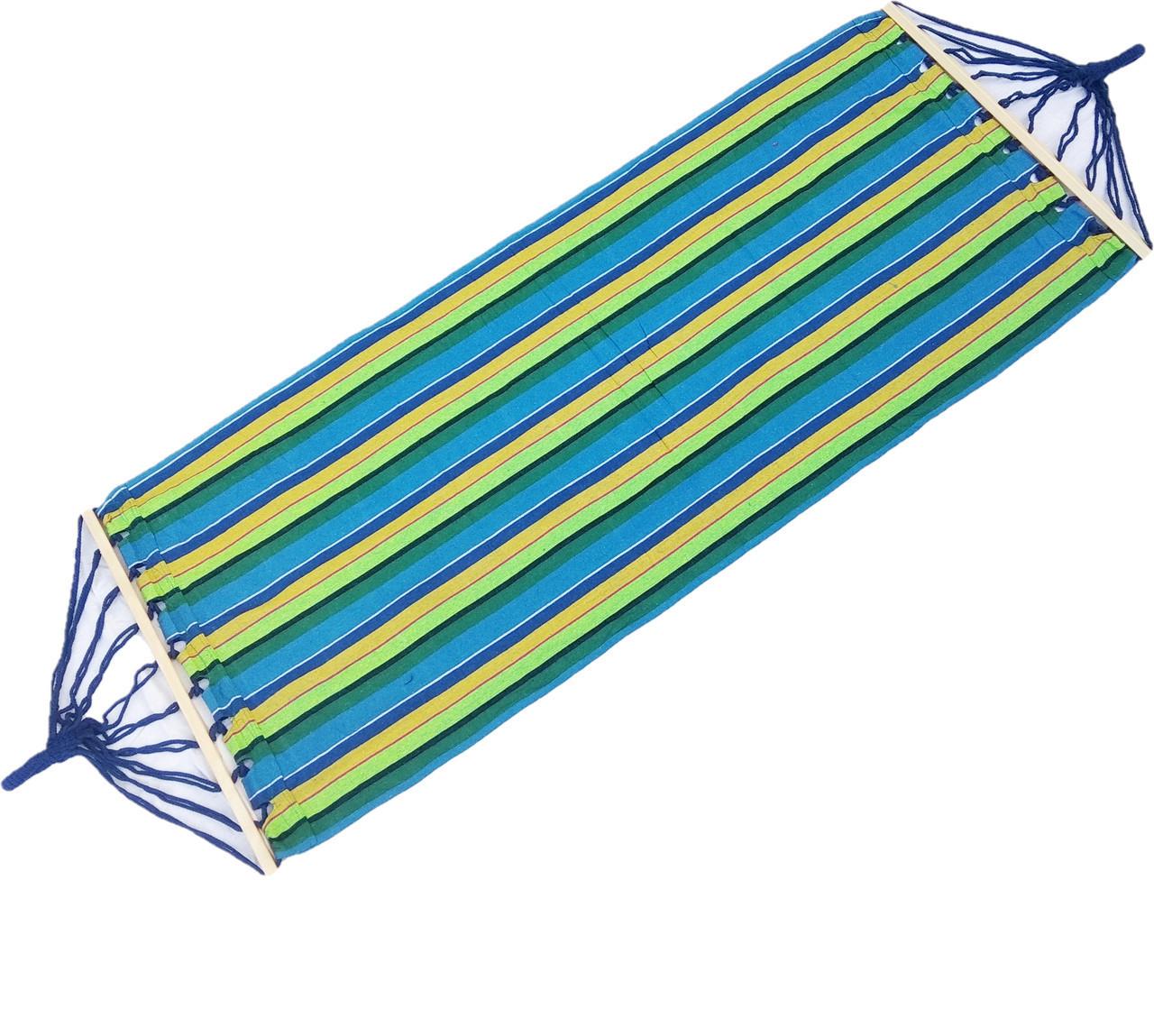 Гамак тканевый с деревянными планками перекладинами 80 см лежак 200*80 с рюкзачком.Сине-Зеленый Сине зелёный