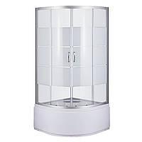 Душевой угол Sansa S-90/40, профиль сатин, стекло прозрачное-lines, фото 1