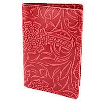 Обкладинка на паспорт шкіряна жіноча Амелія (червона квітка)