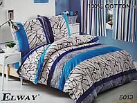 Сатиновое постельное белье евро ELWAY 5013 «Абстракция»