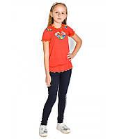 Червона вишита футболка для дівчинки