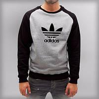 Летняя мужская спортивная кофта Adidas (Адидас) серо-черная
