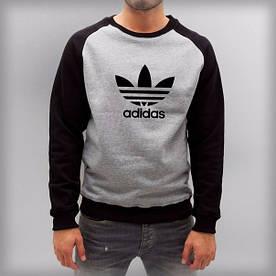 Річна чоловіча спортивна кофта Adidas (Адідас) сіро-чорна
