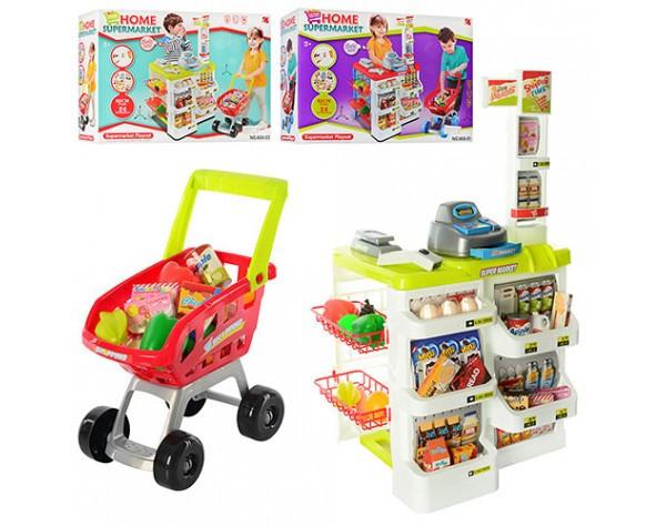 Детский игровой набор Мой магазин с тележкой, кассой и аксессуарами