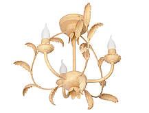 "Люстра кованая потолочная ""Ева"" бежевая с золотом на 8 ламп, фото 3"
