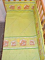Детское постельное белье в кроватку, постельный комплект (мишка в круге салатовый), фото 3