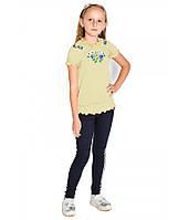 Жовта вишита футболка для дівчинки