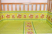 Детское постельное белье и защита бортик в детскую кроватку Мишка в круге салатовый, фото 2