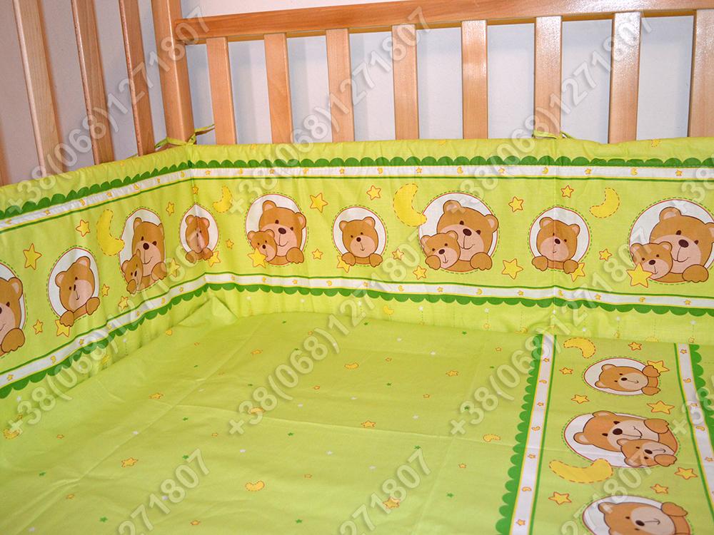 Детское постельное белье и защита бортик в детскую кроватку Мишка в круге салатовый