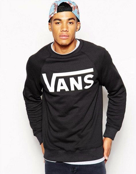 Демисезонная мужская спортивная кофта Vans (Ванс), черная