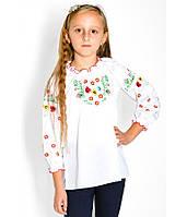 Біла сорочка з кольоровою вишивкою