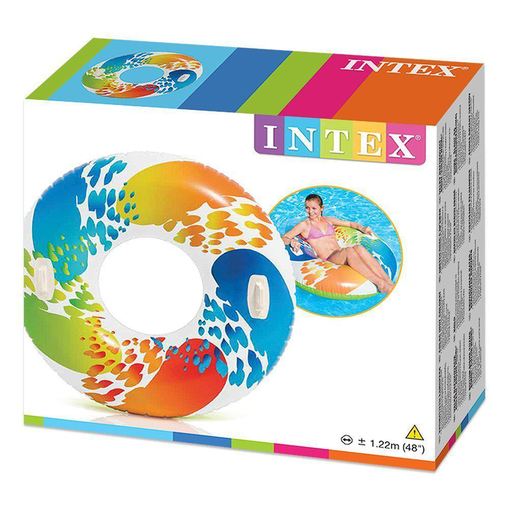 Надувной круг с ручками Intex 58202 119 см Цветная капля