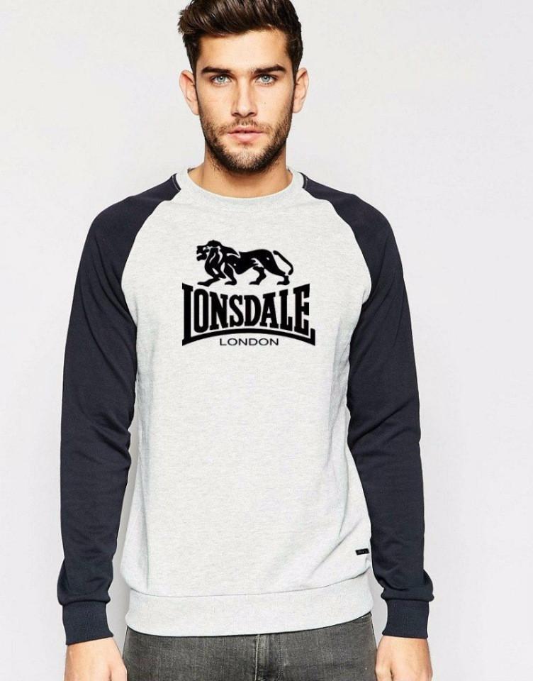 Мужская спортивная кофта (спортивный свитшот) Lonsdale (Лонсдейл), серо-черная
