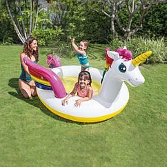 Надувний дитячий басейн Intex Чарівний єдиноріг, інтекс для дітей, для дачі, пляжу, літній басейн