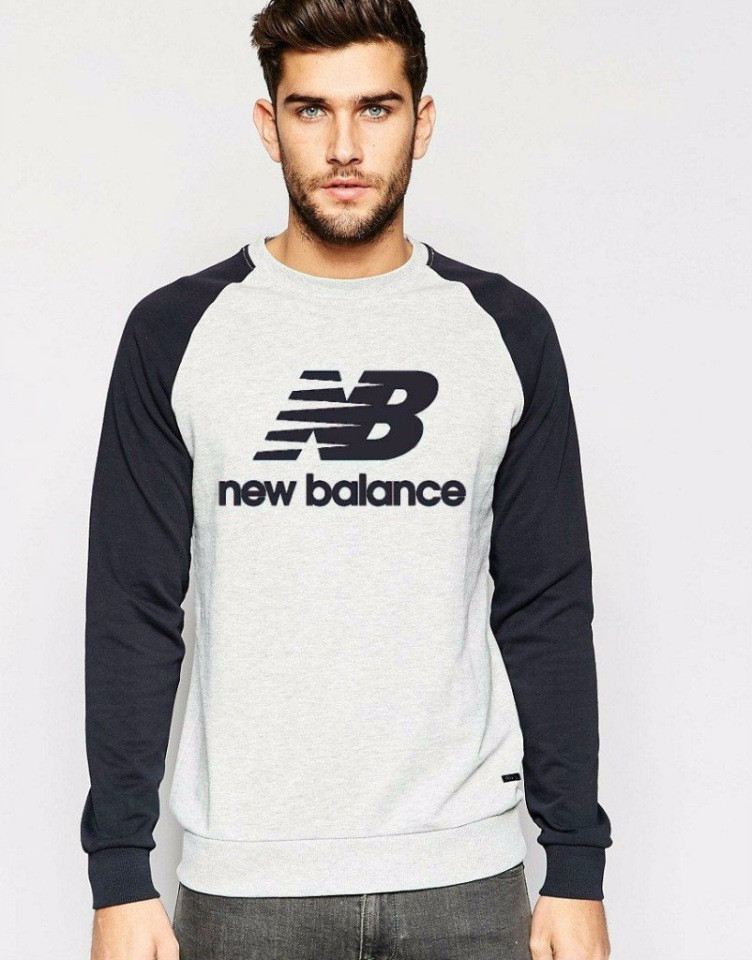 Демісезонна чоловіча спортивна кофта New Balance (Нью Беленс), сіро-чорна