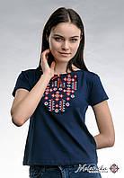 """Жіноча вишита футболка """"Зор'яне Сяйво"""" з червоним на темно-синій , фото 1"""