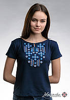 """Жіноча вишита футболка """"Зор'яне Сяйво"""" з синім на темно-синій"""