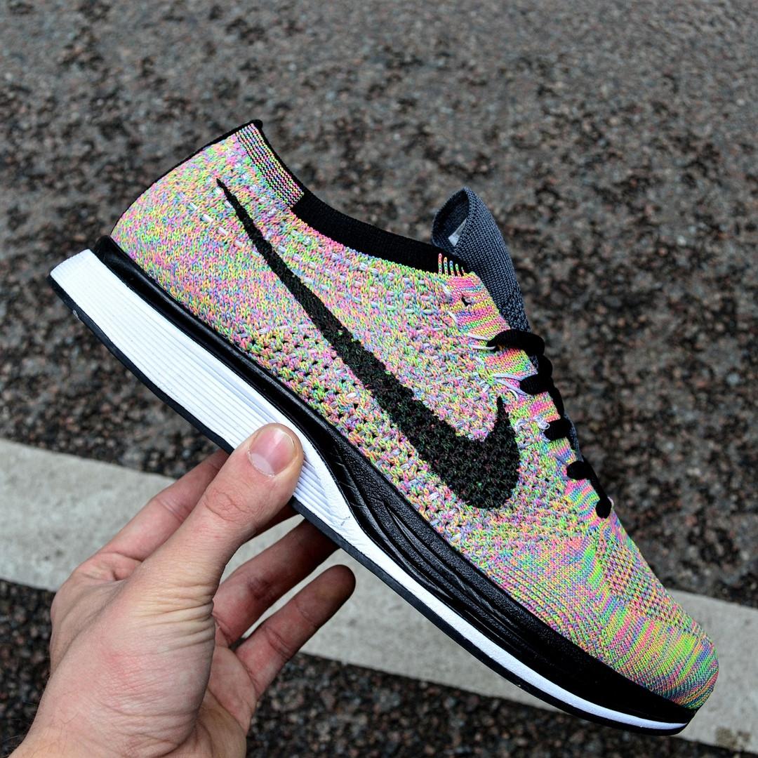 """Мужские кроссовки Nike Flyknit Racer """"Multicolor"""" в сеточку. Живое фото (Реплика ААА+)"""