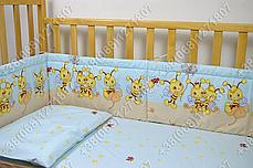 Детское постельное белье и защита (бортик) в детскую кроватку (пчелка голубой), фото 3