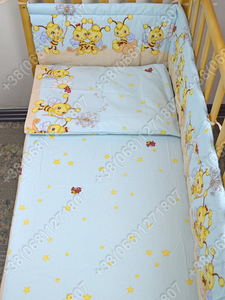 Детское постельное белье и защита (бортик) в детскую кроватку (пчелка голубой)