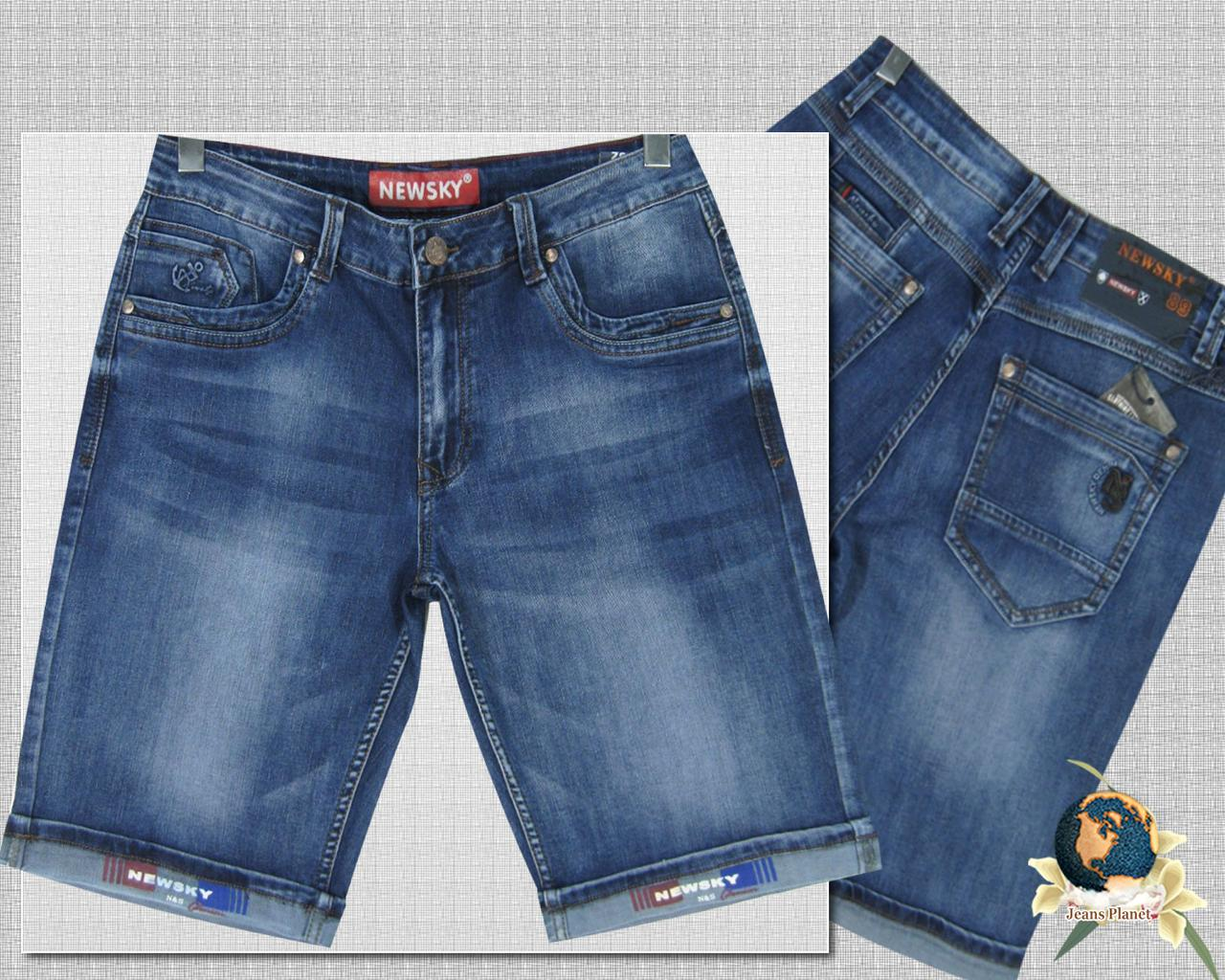 Шорты мужские джинсовые короткие баталы светло-синего цвета с отворотом