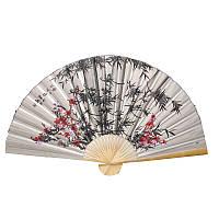 Веер настенный бамбук и цветы 90х160см. серый (C0545)