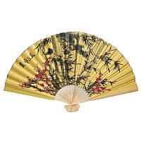 Веер настенный бамбук и цветы 90х160см. желтый (C0548)