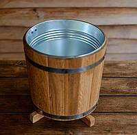 Кадка для растений 15 литров с металлической вставкой (дуб)