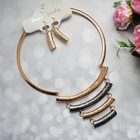 Вечерний комплект бижутерии ожерелье с камнями + серьги