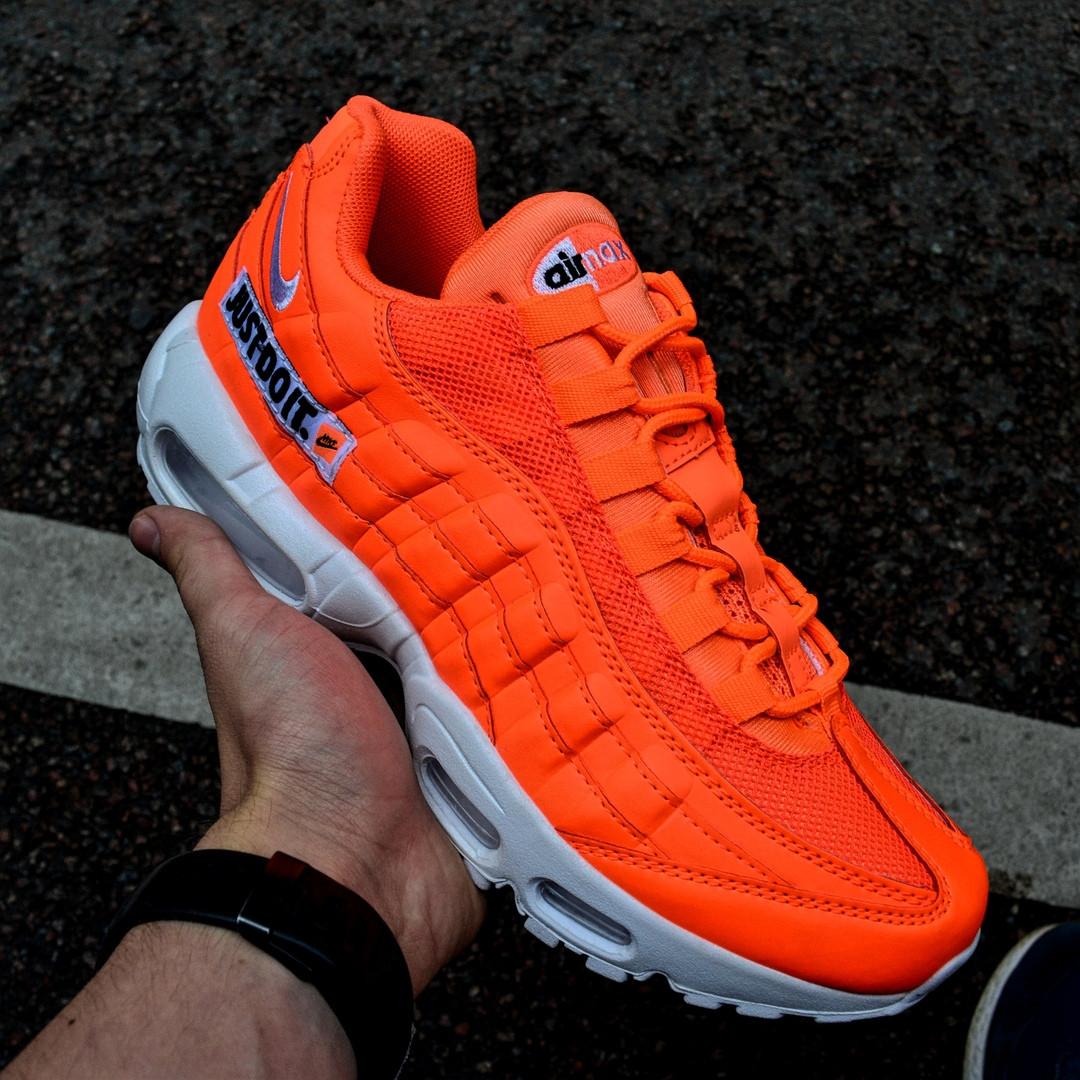 """Мужские кроссовки Nike Air Max 95 Just Do It """"Pack Orange"""" с балоном оранжевые. Живое фото. Реплика"""
