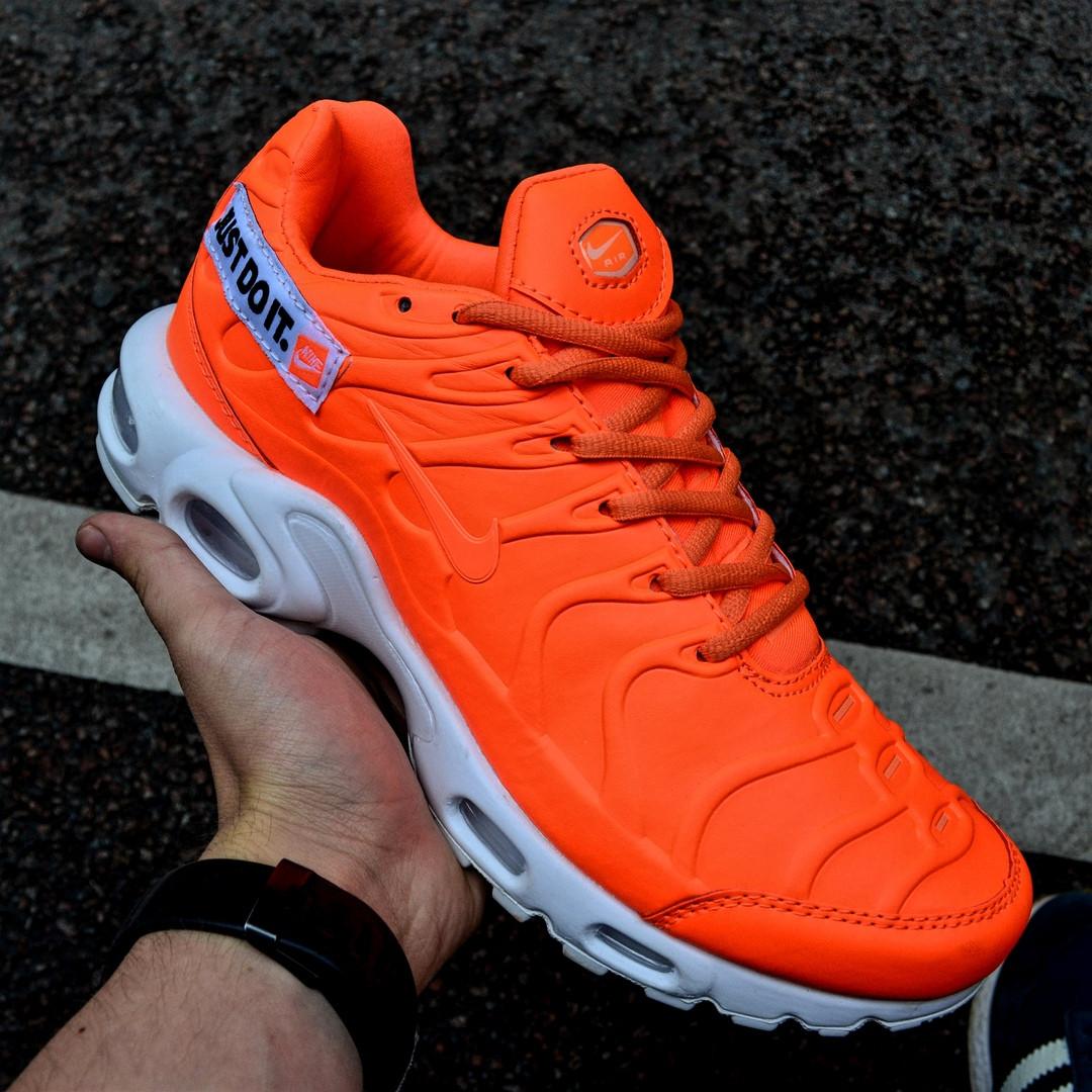 "Мужские кроссовки Nike TN Air Max Plus Just Do It ""Pack Orange"" с балоном оранжевые. Живое фото (Реплика ААА+)"