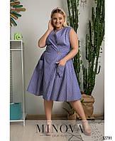 Свободное платье А –силуэта из легкого каттона (размеры 48-58)