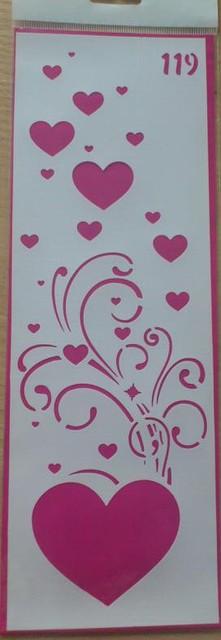 """Трафарет для нанесения рисунка на торт""""Сердца""""119(код 00692)"""