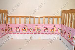 Бортики в детскую кроватку защита бампер Сова розовая, фото 2
