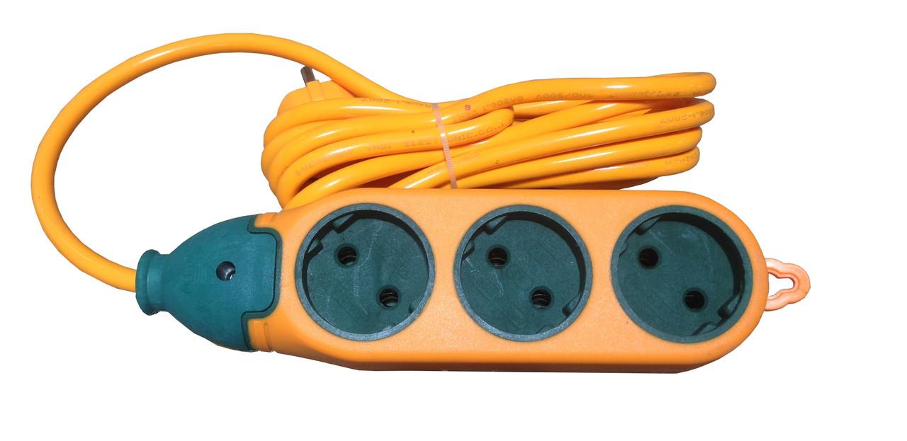 Подовжувач 3/5м 2-х сторонній 3гн+3гн 5м негорючий провод ( для строй работ) (1/80ящ) R