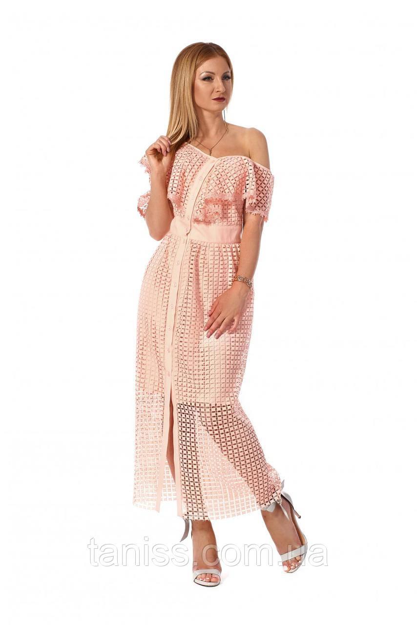 Стильное, романтичное платье с воланами, ткань макраме, размеры 42,44,46 (1166.2)персиковый