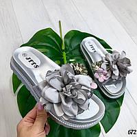 Шлепанцы Florry цветок серебро