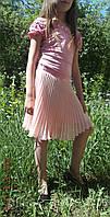 Чудесная юбочка гофре солнце-клёш из нежно-розового шифона для девочки