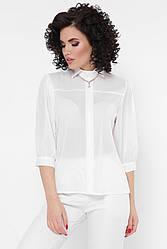 "Элегантная светлая шифоновая блузка с рукавами-фонариками ""Arya"" молочная"